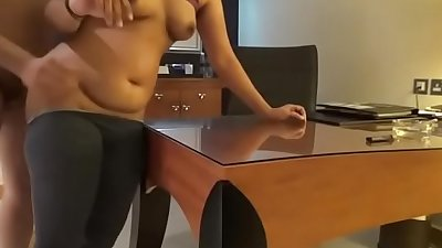 Horny indian reception lady good fucking in table